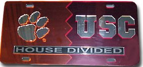 Clemson South Carolina house divided license plate
