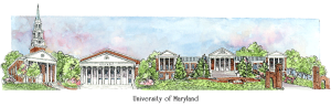 University of Maryland campus watercolor