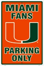 Miami Hurricanes parking sign
