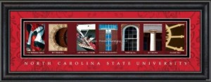 NC State campus letter art