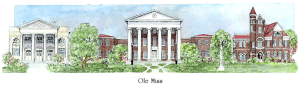 Ole Miss campus watercolor
