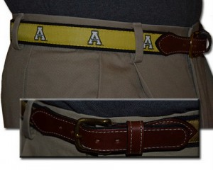 Appalachian State web leather belt