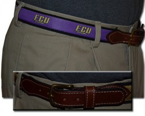 East Carolina web leather belt
