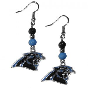 Beaded Carolina Panthers Earrings