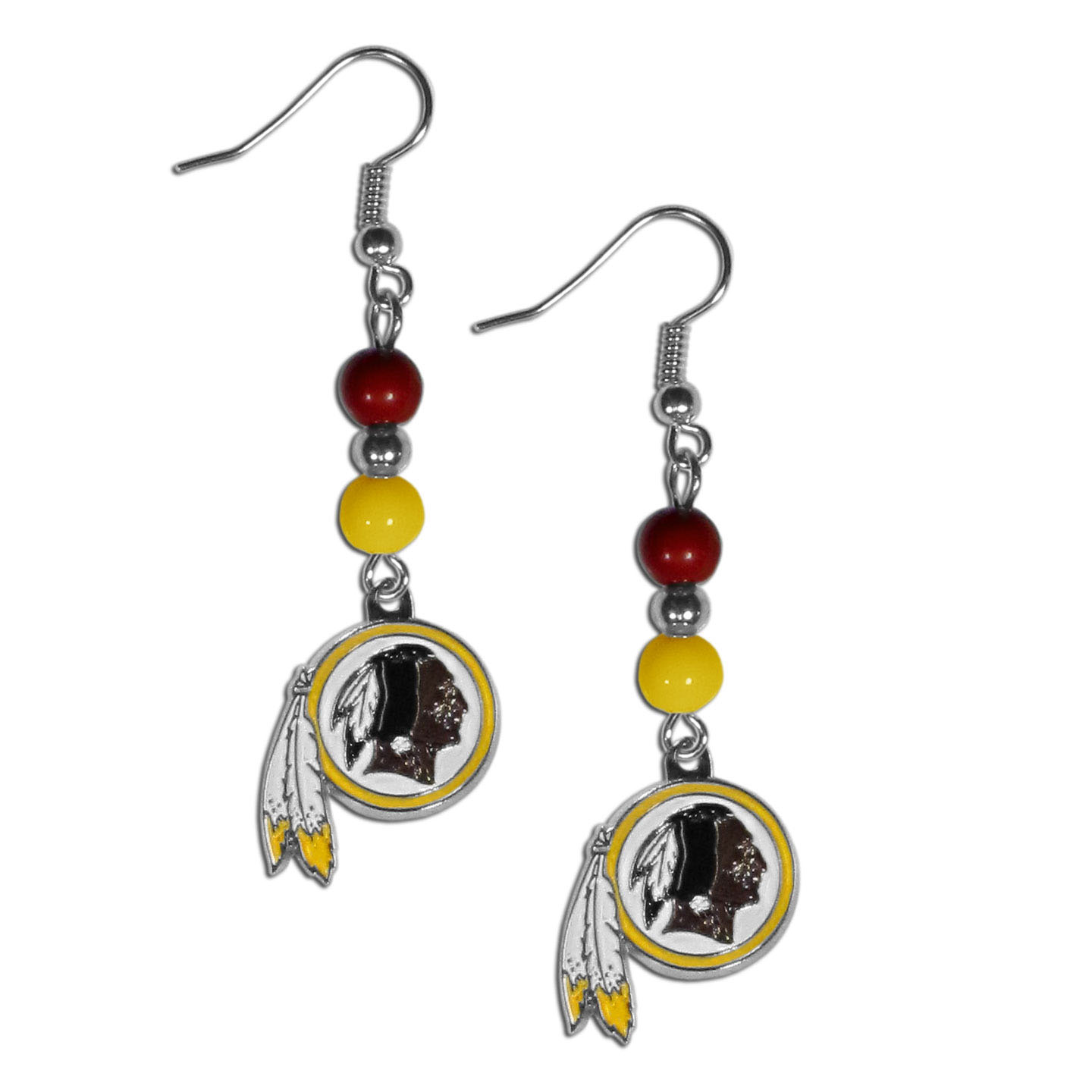 Beaded Washington Redskins Earrings
