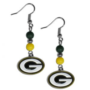 Beaded Green Bay Packers Earrings