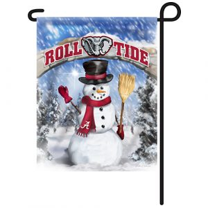 Alabama Crimson Tide Snowman Garden Flag