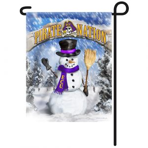 East Carolina Pirates Snowman Garden Flag