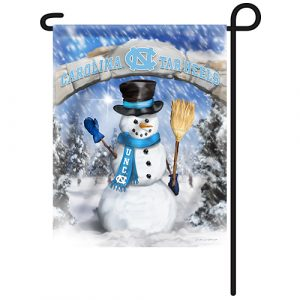North Carolina Tar Heels Snowman Garden Flag