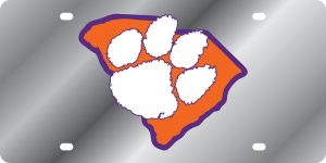 Clemson Tigers State Shape License Plate