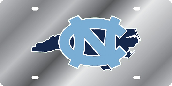 North Carolina Tar Heels State Shape License Plate