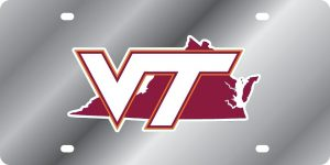 Virginia Tech Hokies State Shape License Plate